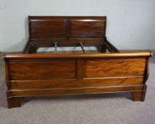 Hardwood King Size Bed,Having side rails and slats,Larger bed end 90cm high, 191cm wide
