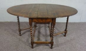 Oak Gate Leg Table with Barley Twist Legs, In 17th Century style