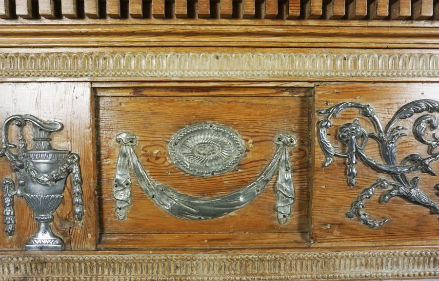 A George III Pewter Mounted Pine and Gesso Fire Surround, - Image 5 of 5