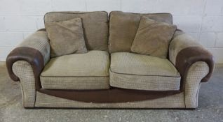 Brown Leather and Fabric Sofa, 71cm high, Approximately 190cm wide, 97cm deep
