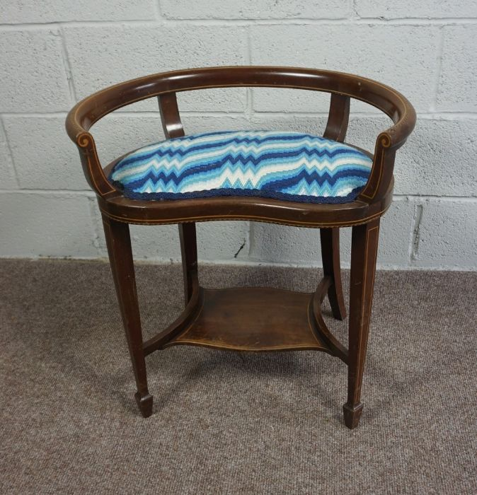 Mahogany Window Seat with Blue and White Cushion, Circa 18th Century with reupholstered cushion pad - Image 2 of 4