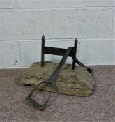 Equestian Boot Pull and Scraper, Stirrup set in stone with a metal boot scraper