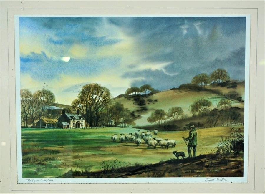 """James F Martin, """"The Border Shepherd"""" Signed Print, Signed in pencil, 27.5cm x 39cm, With a John"""