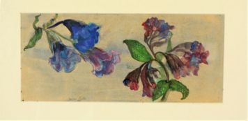 """Joanna Carlisle, """"Wild Flowers"""" Watercolour, Signed, 14.5cm x 32.5cm, With """"Studies of Sheep"""""""