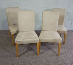 Set of Four Contemporary Dining Chairs with upholstered backs and seats