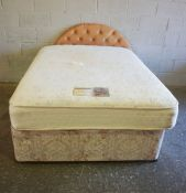 Divan Double Bed, With Mattress and Headboard, Approximately 99cm high, 200cm long, 142cm wide