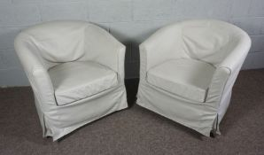 A Pair of Cream Linen Covered Tub Chairs with beige material covering a removable cushion