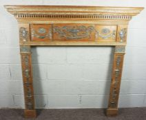 A George III Pewter Mounted Pine and Gesso Fire Surround,