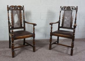 Pair of Oak & Bergere Carver Chairs,Circa Early 20th Century,112cm high (2)Condition reportOld