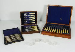 Set of Twelve Late Victorian Silver Plate Fish Knives and Forks, engraved with ferns, ivory handles,