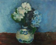 "Donald M MacDonald (Scottish), ""Blue Study"",Oil on Board, Initialled DMD,38.5cm x 50cm,To verso"