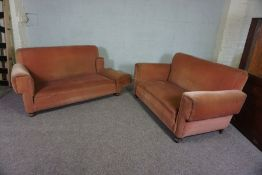 Two Pink Two Seater Sofas