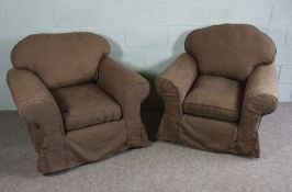 Two brown fabric covered arm chairs