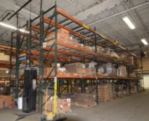 """Lot Of 42"""" Deep Teardrop Pallet Racking Consisting Of: (24) 17' tall uprights, (132) 136"""" wide cross"""