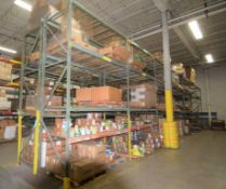 """Lot Of 42"""" Deep Teardrop Pallet Racking Consisting Of: (16) 14' tall uprights, (88) 106"""" wide crossb"""