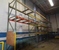 """Lot Of 42"""" Deep Teardrop Pallet Racking Consisting Of: (8) 14' tall uprights, (5) 155"""" wide, (6) 106"""