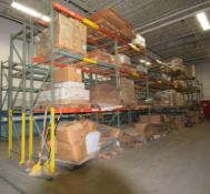 """Lot Of 42"""" Deep Teardrop Pallet Racking Consisting Of: (14) 14' tall, (2) 162"""" tall uprights, (72) 1"""
