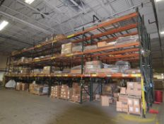 """Lot Of 42"""" Deep Teardrop Pallet Racking Consisting Of: (28) 17' tall uprights, (120) 136"""" wide, (24)"""