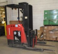 (1) Raymond Electric Stand Up Reach Forklift, Model 750-DR32TT, Serial# 750-12-AC35385.