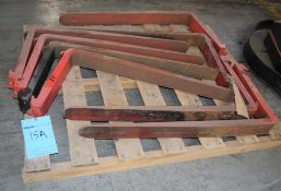 Lot of (8) Forks Last used with a Raymond Sit Down Electric Forklift, Model 445-C40TT.