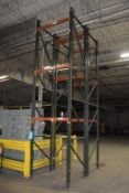 """Lot Of 42"""" Deep Teardrop Pallet Racking Consisting Of: (4) 17' tall, (3)11' tall uprights, (8) 136"""""""