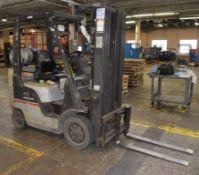 (1) Nissan 40 LP Forklift, Model MCPL02A20LV, Serial# CPL02-9P5390.