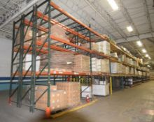 """Lot Of 42"""" Deep Teardrop Pallet Racking Consisting Of: (51) 17' tall uprights, (164) 156"""" wide, (140"""