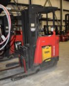 (1) Raymond Electric Stand Up Reach Forklift, Model 750-DR32TT, Serial# 750-12-AC35386.