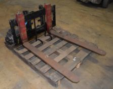 (1) Set Of Forks Last used with a Raymond Sit Down Electric Forklift, Model 445-C40TT.