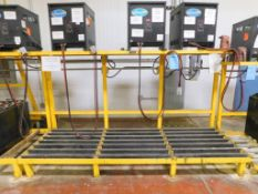 "BHS Battery Handling Systems Forklift Battery Charger Racking, (3) Sections; 120"" x 42"" x 66""."
