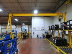 BHS Gantry Crane on Floor Tracks, Approsimate 26' Tracks. With 2 Ton Coffing Chain Hoist with Pendan