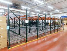 Flow Type Roller Conveyor Pallet Racking, Approximate 22' x 60' x 11'. (NO CONTENTS)