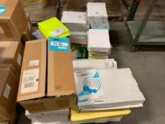 LOT: Assorted Printer Paper, Label Paper, Round ID Labels, Manila Folders, and Misc. on (2) pallets