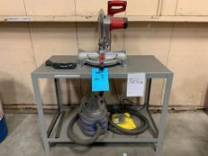 Skillsaw Compound Miter Saw Model 3315, S/N 106, with Shop Vac and Metal Worktable