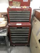 Craftsman 12 Drawer Rolling Tool Cart w/ 7 Drawer Desktop Tool Cab, includes contents