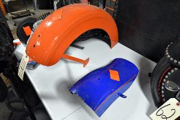 {LOT} (2) Rear Motorcycle Fenders (Blue and Orange)