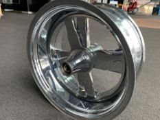 "Spinner-Type, Chrome Motorcycle Rim, 19""x9"""