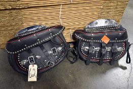 Pair of Black Studded Leather Saddle Bags