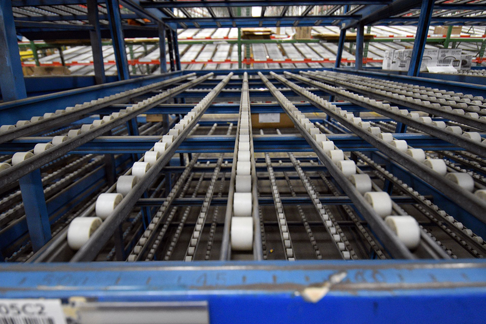 """4-Tier Gravity Fed, Carton Flow Rack (124""""x187""""x95""""H) (108""""x1"""" Rollers) - Image 3 of 4"""