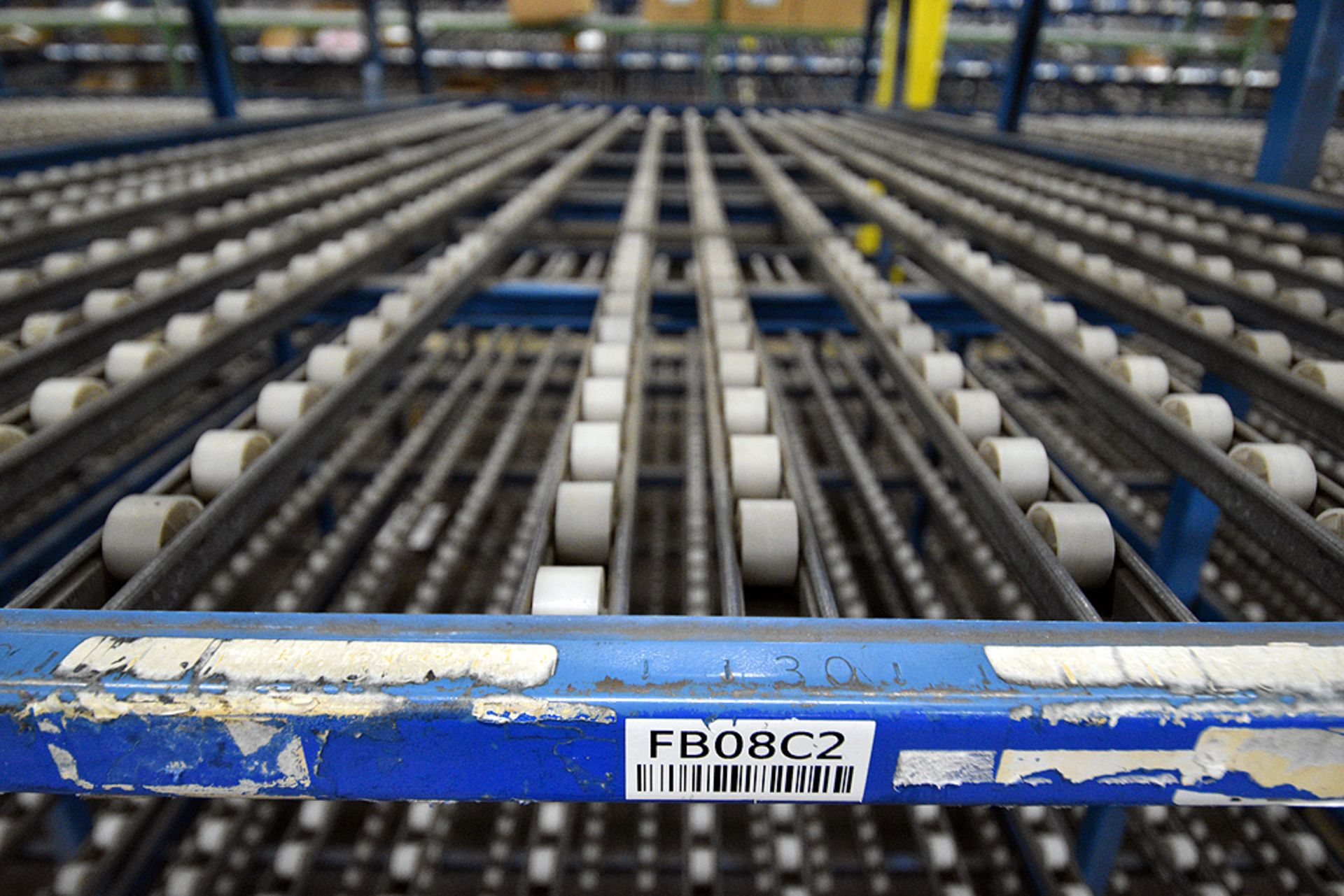 """4-Tier Gravity Fed, Carton Flow Rack (116""""x624""""x95""""H) (108""""x1"""" Rollers) - Image 3 of 4"""