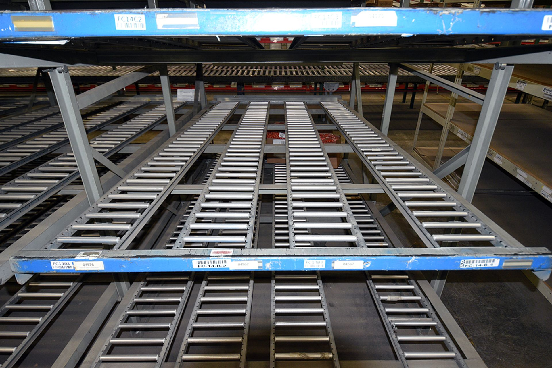 "4-Tier Gravity Fed, Carton Flow Rack (132""x180""x95""H) (108""x1"" and 108""x7"" Rollers) - Image 2 of 4"