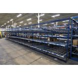 "4-Tier Gravity Fed, Carton Flow Rack(132""x601.5""x95""H) (108""x1"" Rollers)"