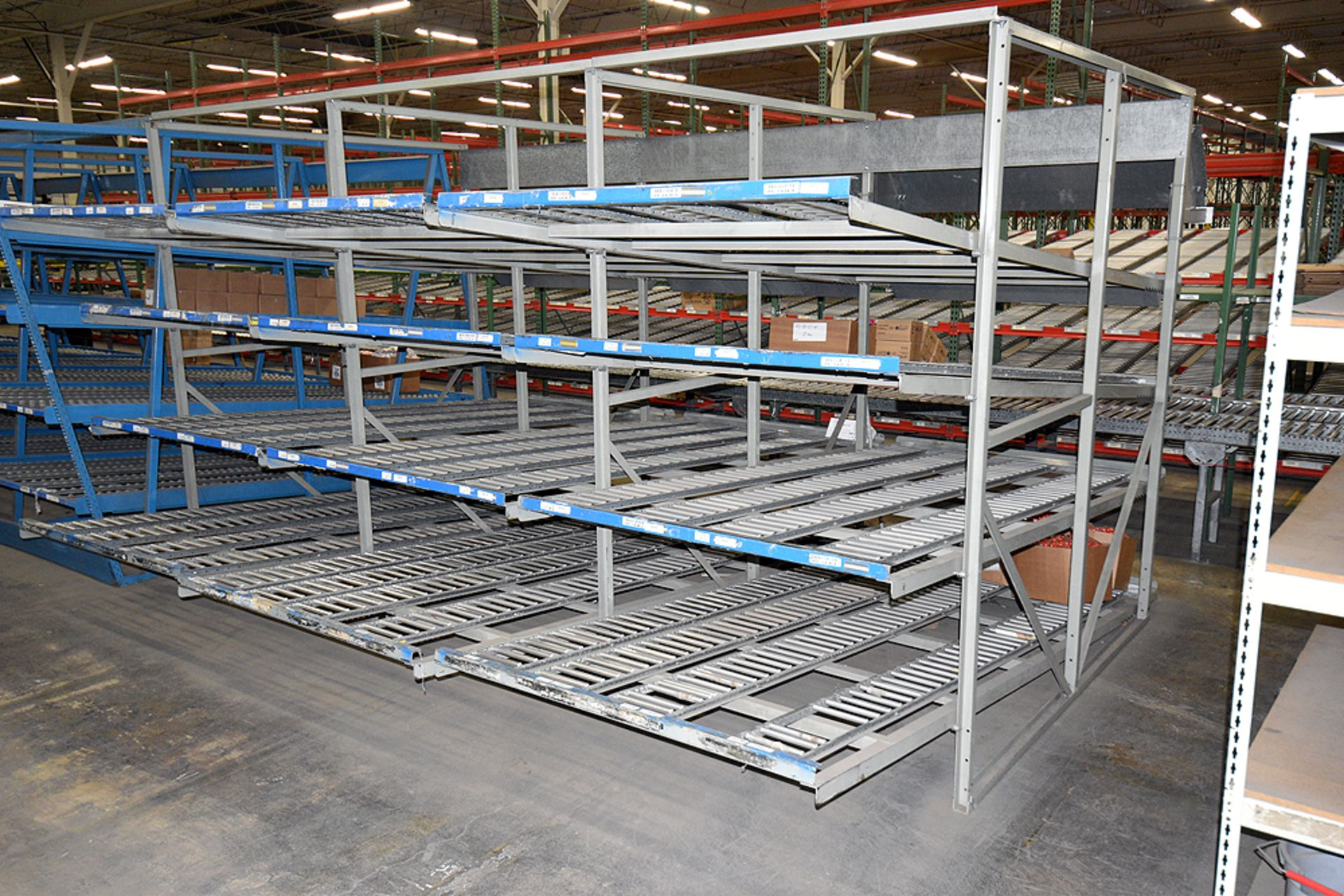 "4-Tier Gravity Fed, Carton Flow Rack (132""x180""x95""H) (108""x1"" and 108""x7"" Rollers)"