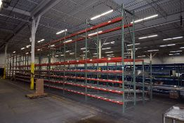 Group of Gravity Feed Rollers Mounted on 12 Sections of Pallet Racking