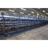 "4-Tier Gravity Fed, Carton Flow Rack (116""x624""x95""H) (108""x1"" Rollers)"