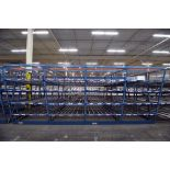 "4-Tier Gravity Fed, Carton Flow Rack (124""x249""x95""H) (108""x1"" Rollers)"