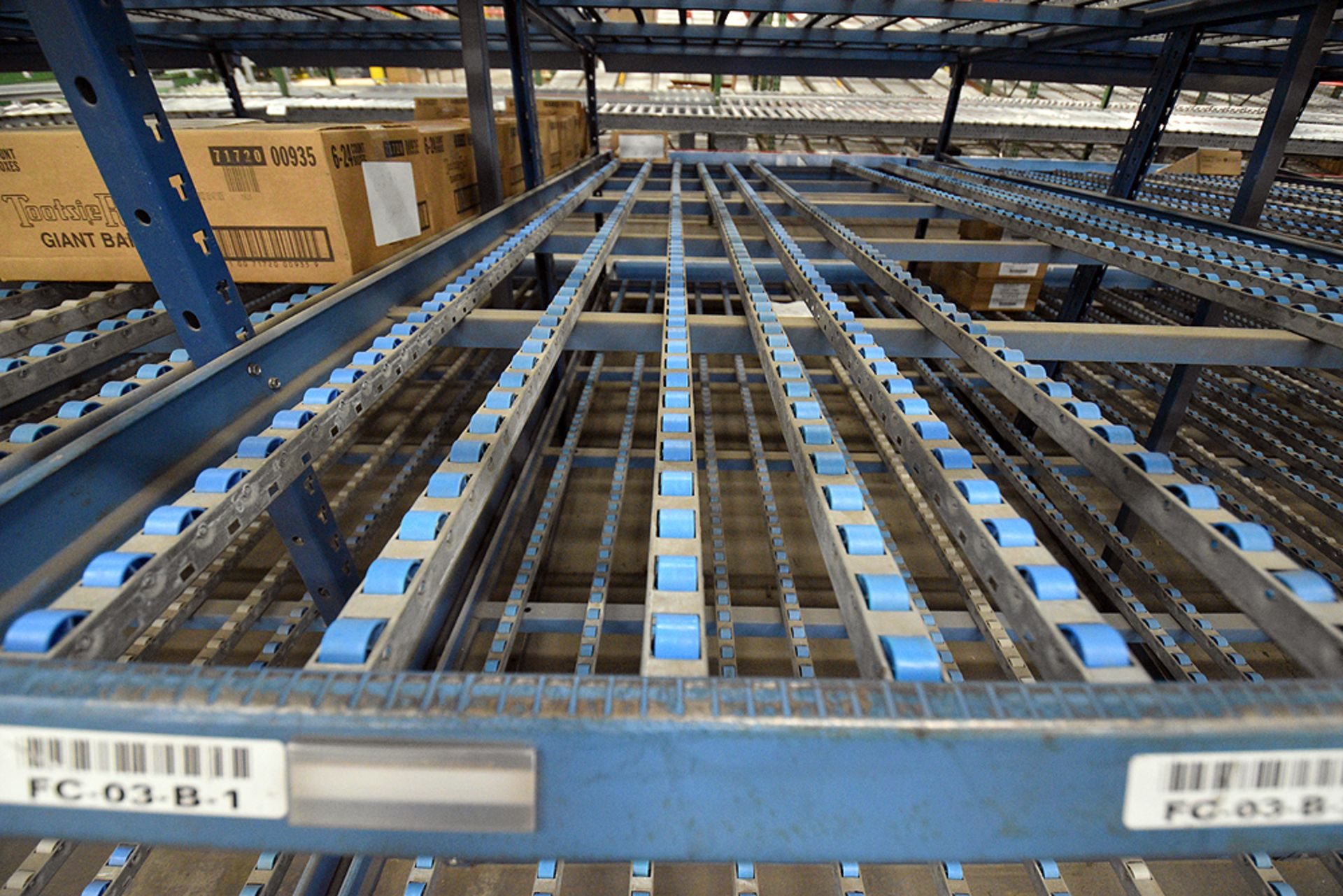 """4-Tier Gravity Fed, Carton Flow Rack (124""""x238""""x95""""H) (108""""x1"""" Rollers) - Image 2 of 3"""