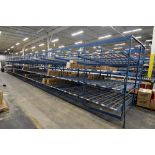 "4-Tier Gravity Fed, Carton Flow Rack (125""x841.5""x96""H) (108""x1"" Rollers)"
