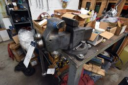 """Reed No. 105 Bench Vise w/Steel Work Table (48"""" W. x 48"""" L. x 36"""" D.)"""