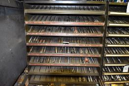 "Group of Millersburg & TRNT Reamers (3/16 - 2"") w/8-Shelf Shelving Unit"